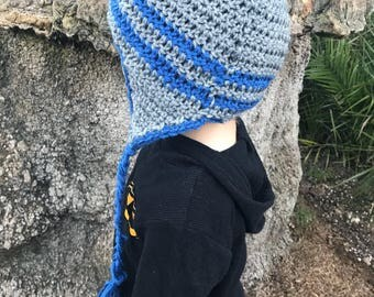 Crochet blue and grey beanie with tassels