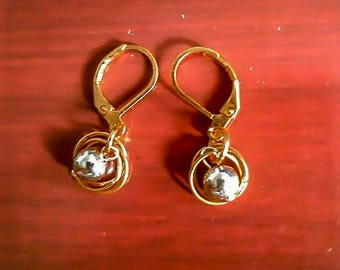 Gold filled and silver bead leverback earrings