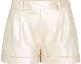Diane von Furstenberg Gillian Metallic Suede Cuffed Shorts