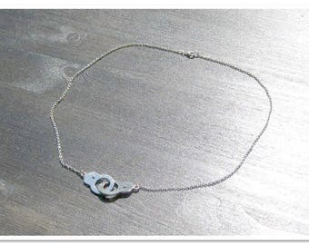 Discreet Day Collar with Handcuffs, Submissive Necklace and Chain, Submissive Choker, Sterling Silver