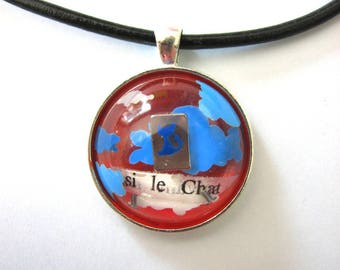 Inclusion pieces of metal paint and words necklace