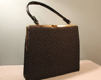 Vintage 1960's-1970's Black Clasp Top Handle Handbag Purse with Gold Accents