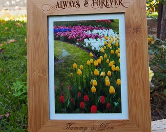 "FREE DELIVERY -Personalised engraved bamboo photo frame 28 x 23 x 1cm  - hold 8x6"" or 20x15cm photo - Wedding / Anniversary / Birthday"