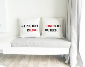 All You Need is Love-Love is All You Need Pillow // Housewarming gift / Custom gift / Home decor / Anniversary Gift / Pillows