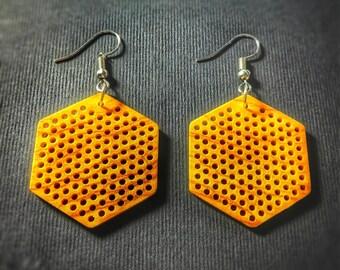 Geometric earrings, wooden earrings, olive wood earrings, honeycomb earrings