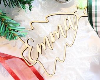 Custom Name Ornament, Christmas Gift, Name Ornament, Wooden Christmas Tree Keepsake Ornament, Christmas Decoration, Christmas Tree Ornament