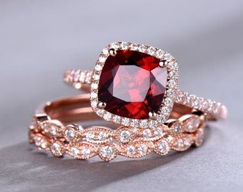 garnet ring set 8mm cushion cut garnet engagement ring rose gold plated art deco wedding band - Garnet Wedding Ring
