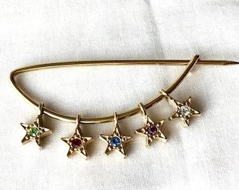 Gold Lapel Pin, Star Brooch Pin, Vintage Pin, Brooch With Rhinestones, Elegant Pin, Vintage Lapel Pin, Star Pin, Coat Pin, Vintage Pins
