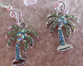 So Cute Palm Trees With Rhinestones Dangle Earrings