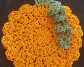 Crochet Pumpkin Coasters, Scrubbies, or Decor (Set of 4)