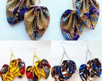 two leaf yellow, blue and gold african print earrings