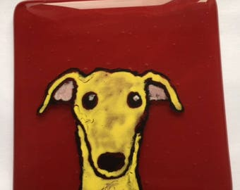 Marvin  the Greyhound Fused glass coaster