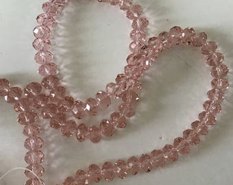 Crystal d 8 * 6 mm faceted pink bead