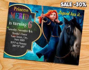 Digital file, Merida Brave  Invitation, Merida Brave birthday, Merida Brave, Merida Brave invite, Merida Brave party