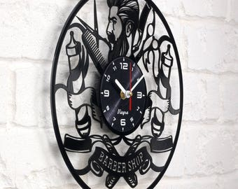 BARBERSHOP CLOCK Vinyl Record Clock Barber gifts Shop Wall Decor vintage party decor Art Decoration antique Barber pole pin signs posters