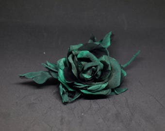Broche with pink green flower brooch hand made silk flower Brooch
