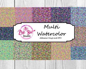 Multi Watercolor Pattern vinyl,watercolor custom printed vinyl, adhesive vinyl, heat transfer vinyl, lilly,printed HTV, Glitter or ADHESIVE