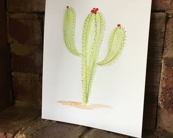 Flowering Saguaro Cactus Watercolor Painting