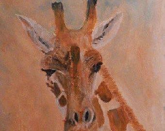Giraffe art -  giraffe gift -  giraffe decor - African wildlife original artwork - African animal painting - framed safari art -