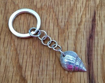 Silver Seashell keyring, Original silver seashell keyring, shell keyring, seashell, gift for him, gift idea for man, gift for beachlover