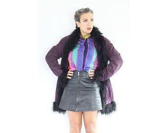 Vintage 1970s purple suede mongolian fur jacket
