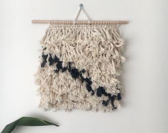Woven wall hanging 'Black shaggy'
