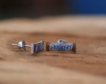 "Tiny ""Snickers"" bar stud earrings, cute and quirky food jewellery"