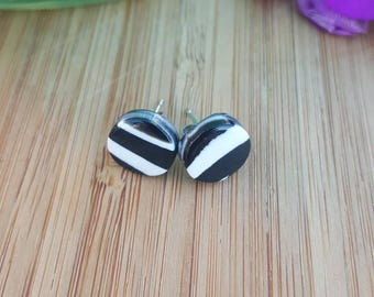 Black and white polymer clay stud earrings