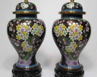 Pair of cloisonné vases height 24 CM