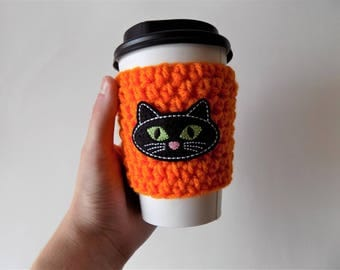 Cat Cup Sleeve, Crochet Cup Cozy, Cat Lover, Coffee Cozy, Cat Accessories, Halloween, Coffee Cup Sleeve, Coffee Accessories, Black Cat