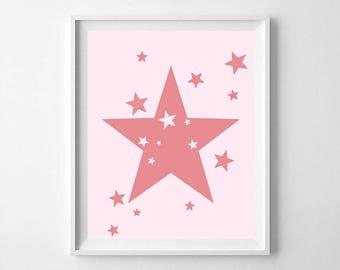 Star printable, star, star printable, girls nursery, boys nursery, nursery quote, star art, pink star, pink star, star print