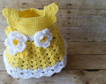 Crochet Baby Dress, Light Yellow Baby Dress, Handmade Baby Dress, Newborn Baby Gift, Baby Shower Gift, Infant Girl Dress, Baby Yellow Dress
