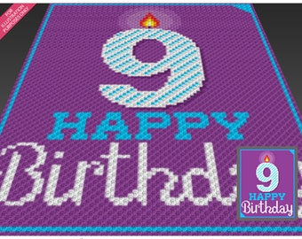 Happy Birthday 9 crochet blanket pattern; knitting, cross stitch graph; pdf download; no written counts or row-by-row instructions