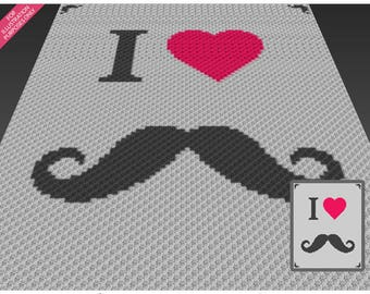 I Love Mustache crochet blanket pattern; c2c, cross stitch; graph; pdf download; no written counts or row-by-row instructions