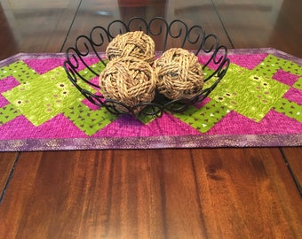 Purple and green table runner
