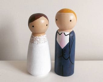 Wedding Peg Doll Cake Toppers - hand-painted personalised wooden peg dolls - bride and groom cake topper