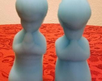 Fenton Blue Satin Glass Praying Boy and Girl Figurines