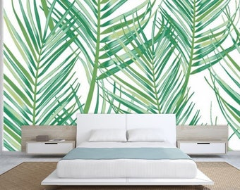 Jungle leaves, green leaves painting wall decal, green painting leaf, vintage wall decal, green leaves wallpaper, design leaves wall decal