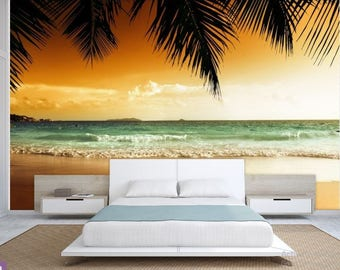 beach sunset wallpaper, sea sunset wall mural, tropical beach wallpaper, tropical wallpaper, peel and stick, sunset wallpaper, coast sea
