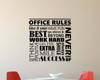 Office Rules Wall Decal Work Hard Think Positive Quote Inspirational  Lettering Vinyl Sticker Motivational Decor Poster
