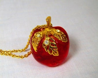 Vintage Red Apple Lucite Avon Necklace Teacher Back to School