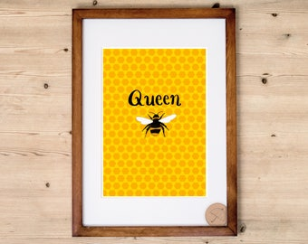 Queen Bee Print  Bumblebee Art Print   Mustard Yellow Art Print   Bee Poster   Bee Home Decor   Feminist Artwork   Hexagon Home Decor  