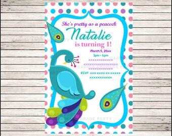 Peacock invitations | Etsy