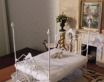 "Artisan Made Barbie 1:6 Scale Wrought Iron Look Bed ""BRENNA"""