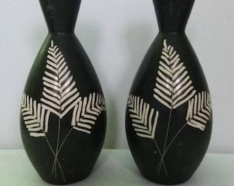 Pair of Vintage Krakeroy Keramikk of Norway Black Handpainted Vases circa 1950s