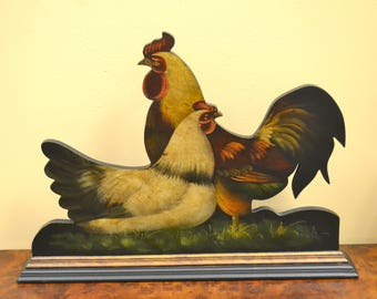 Large Wooden Rooster And Chicken-Hand Painted