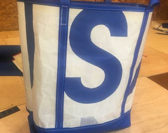Blue and White Tote from recycled J 29 Sail