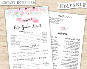 Editable PDF Baptism Program Girl Digital Print for girl  LDS baptism program printable floral minimalist modern Baptism Program Print
