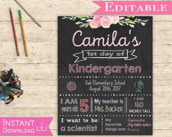 First day of School Editable Sign Chalkboard Girl Back to School 1st day of School, DIY Printable Photo, Shabby Chic, Pink and Mint, Flowers