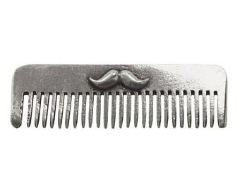 Beard & Moustache Comb - Solid Pewter - Engraved with your initials! Perfect for keeping your beard in check on the go!